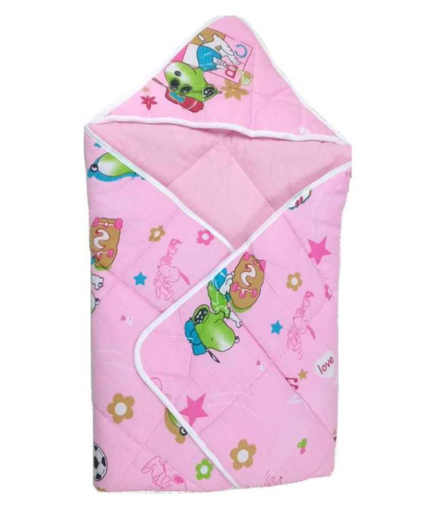 Love Baby Pink Cotton Baby Wrap cum blanket ( 70 cm × 70 cm - 1 pcs)