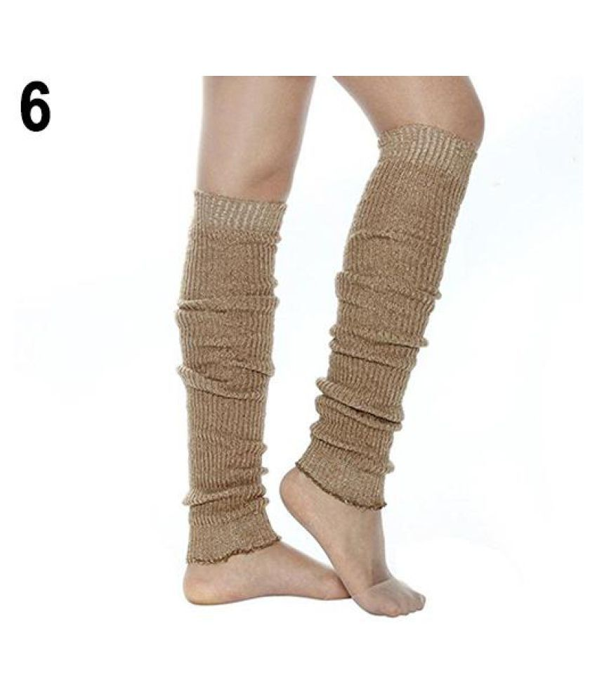 Women Girl Cable Knit Ribbed Over the Knee Leg Warmers Long Boot Cuffs Toppers