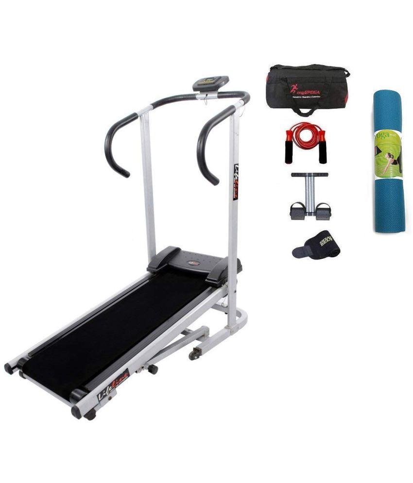 Lifeline Manual jogger Treadmill    Tummy Trimmer , Gym Bag , Skipping Rope , Sweat Belt And Yoga Mat (6mm)