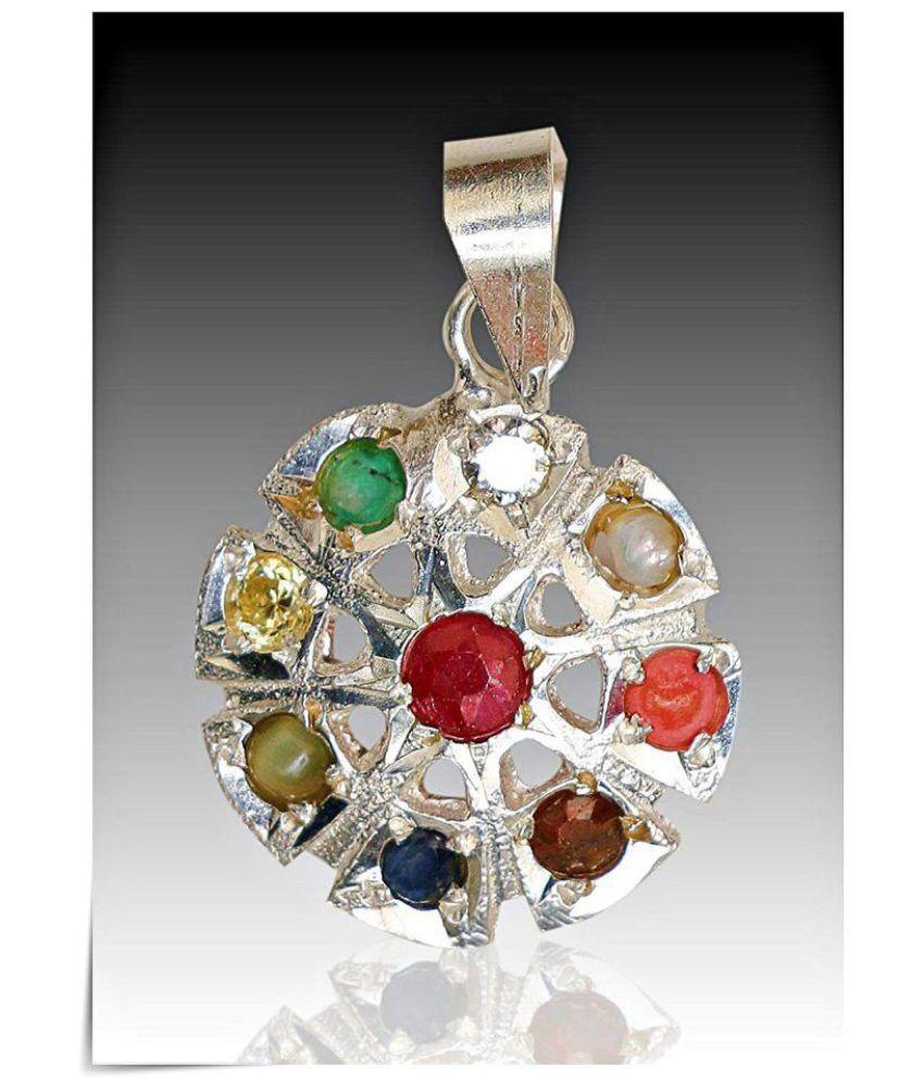 Rudra Divine NAVARATAN SILVER pendant in Designer unique looks with 100% Original Gemstones and pure silver For Unisex / Real Navaratan Pendant / navGreh Pendant