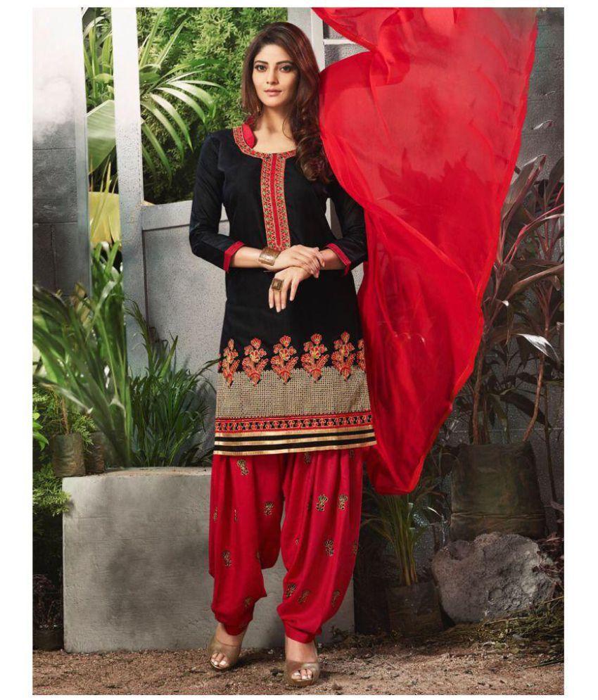 Jesti Designer Black Cotton Dress Material