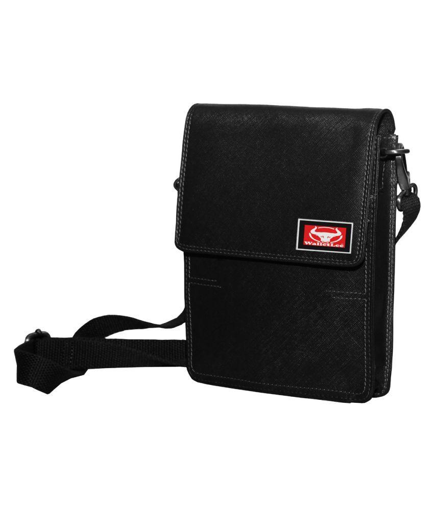 WalletLee LSBU17-WL_2 Black Leather Casual Messenger Bag