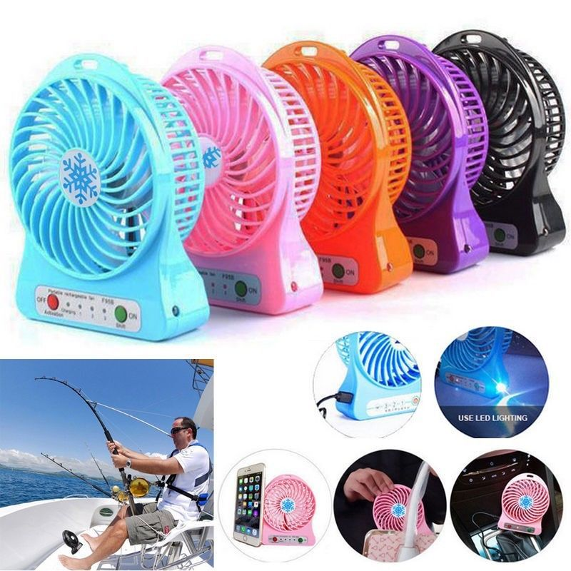 Vizio Mini Portable Mini USB Rechargeable Fan Air Cooling Desktop Fans with Li-ion Battery (4 Inch Fan- Assorted Colors)
