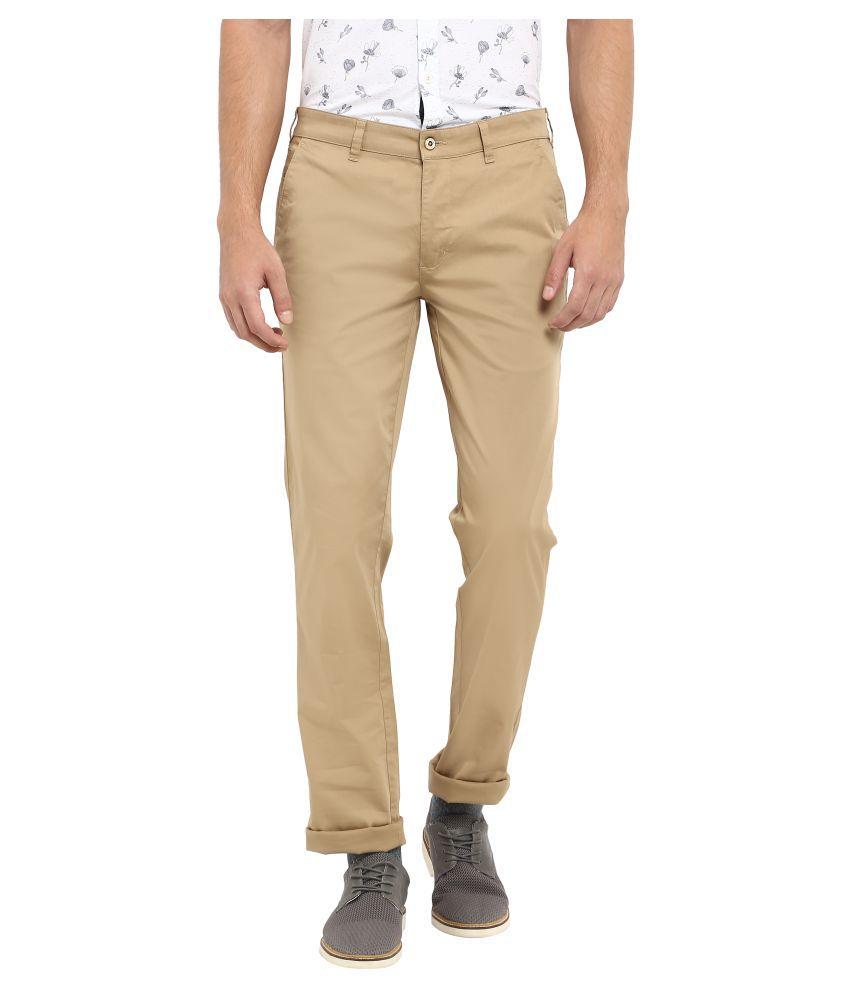 Colorplus Beige Slim -Fit Flat Trousers