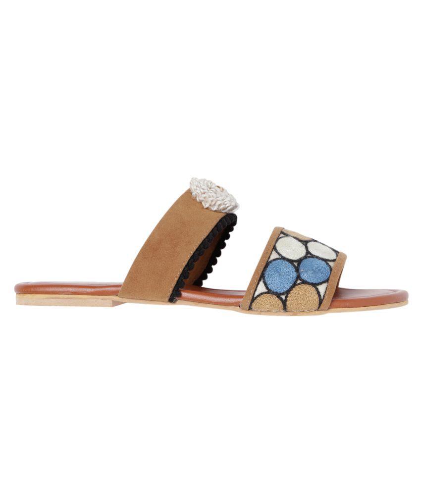 MARC LOIRE Tan Slippers