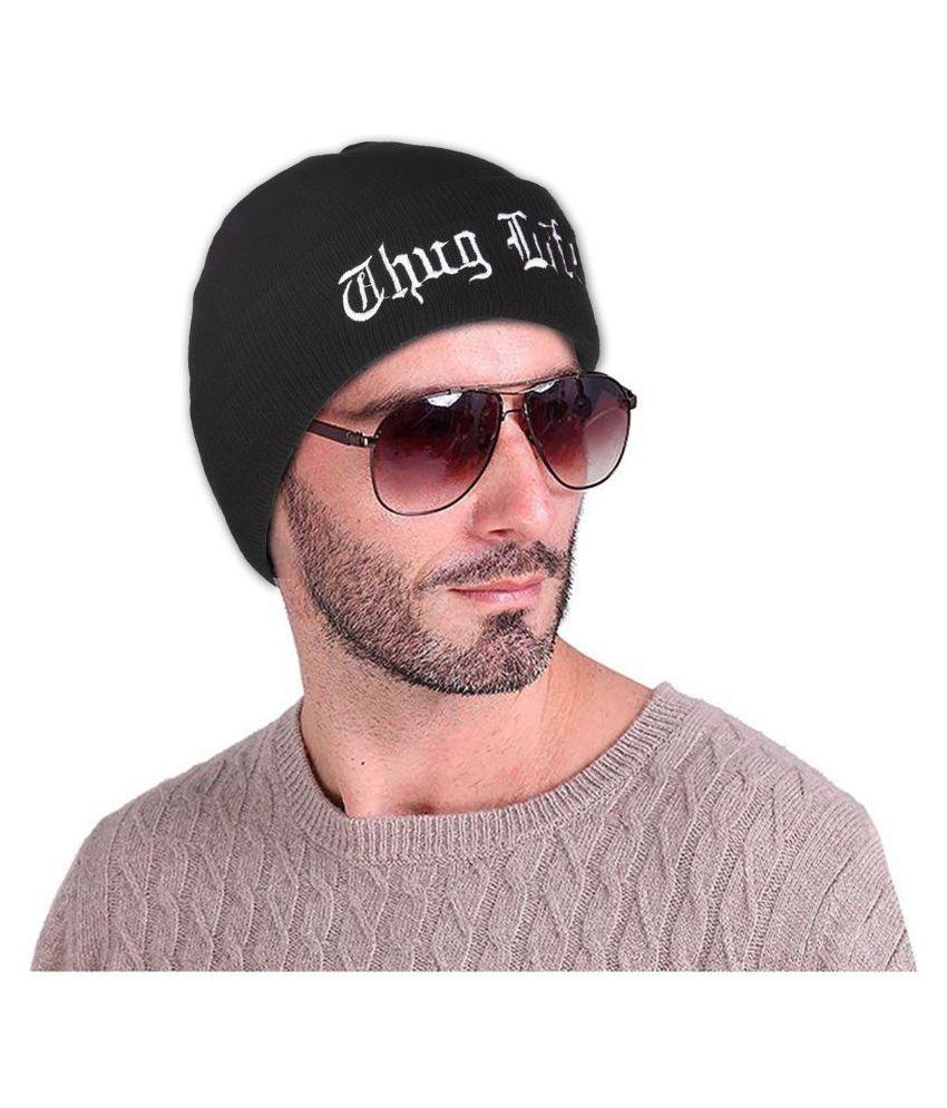 8edfda8c241 DRUNKEN Men s Winter Cap Woolen Thug Life Skull Beanie Cap Black Freesize  Warm Cap  Buy Online at Low Price in India - Snapdeal