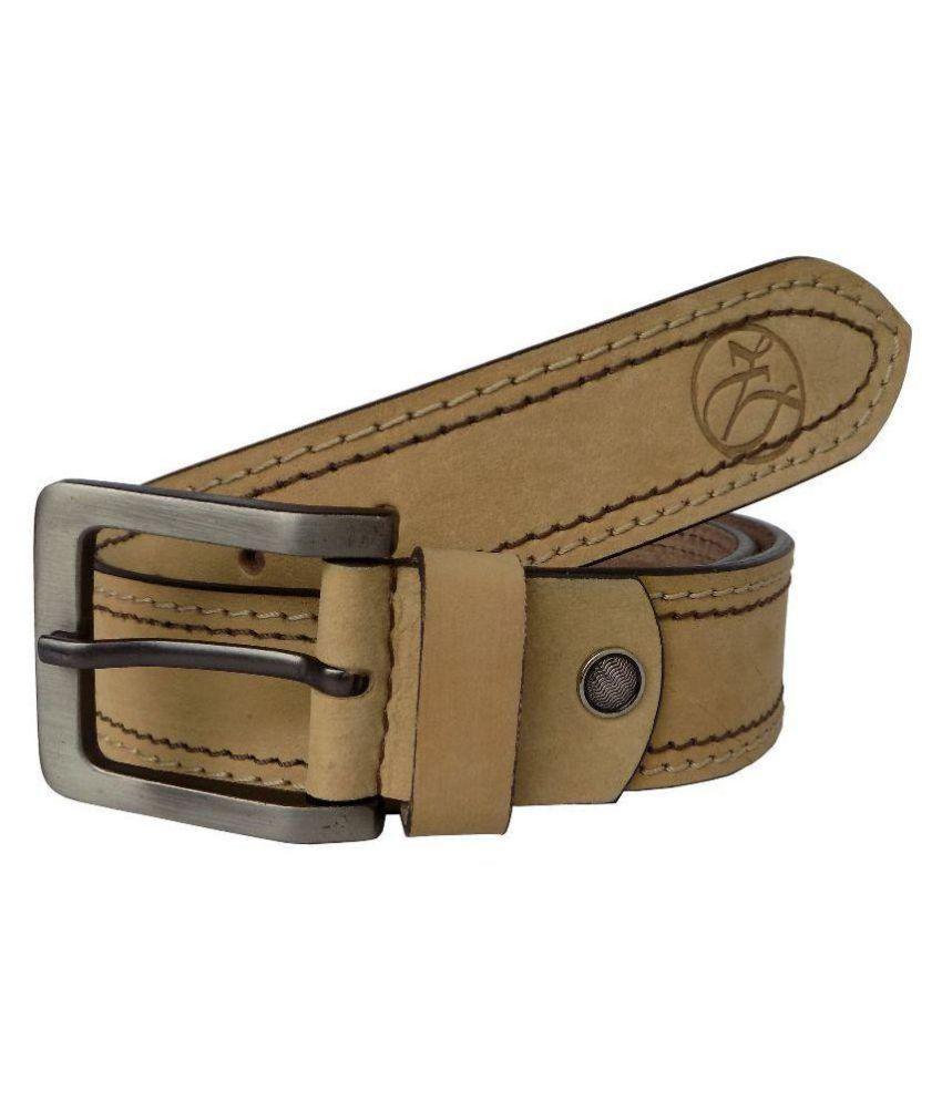 Czar Enterprises Beige Leather Casual Belt - Pack of 1