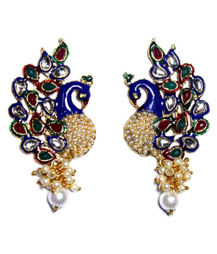 b1f961203 Traditional look Blue Kundan Peacock Shaped Pearl Earrings for Ladis - Buy  Traditional look Blue Kundan Peacock Shaped Pearl Earrings for Ladis Online  at ...