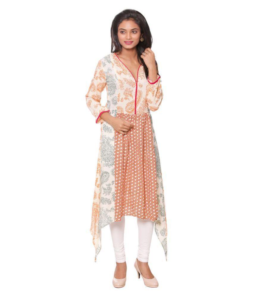 Unimod Multicoloured Cotton Asymmetrical Hemline Kurti