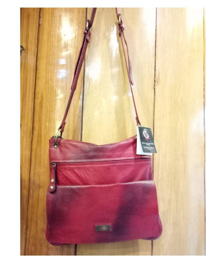 CHEEMA LEATHERS Maroon Pure Leather Sling Bag