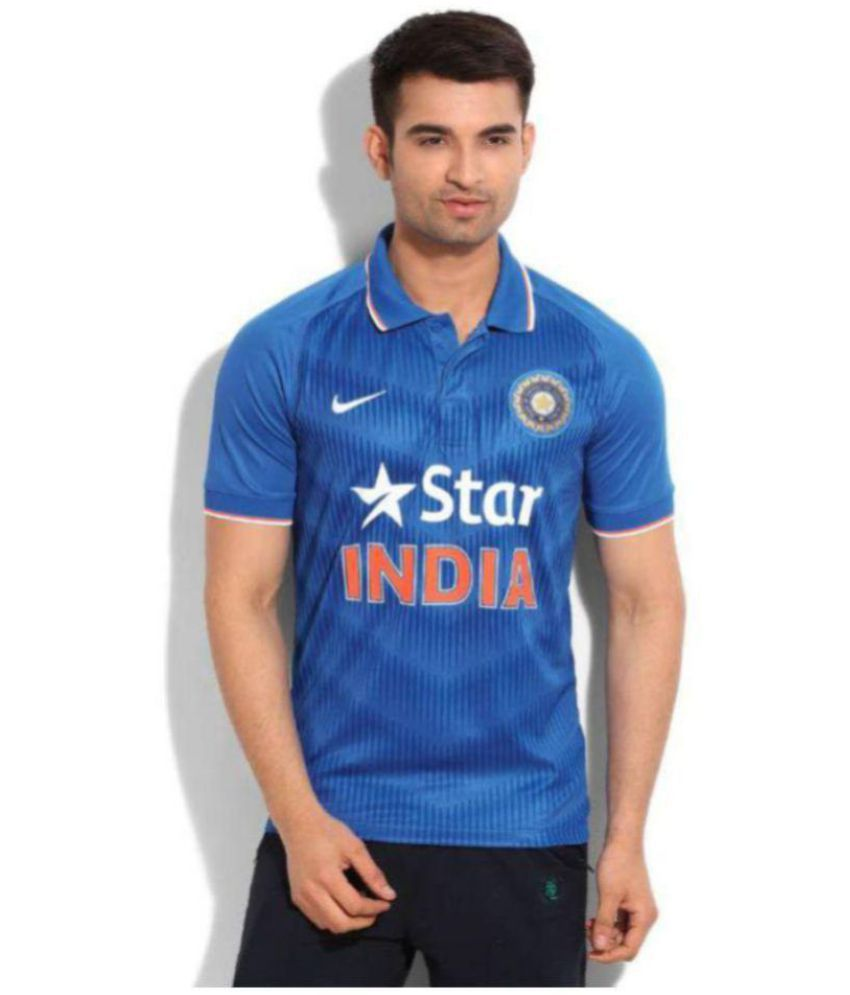 Nike Blue Polyester Polo T-Shirt