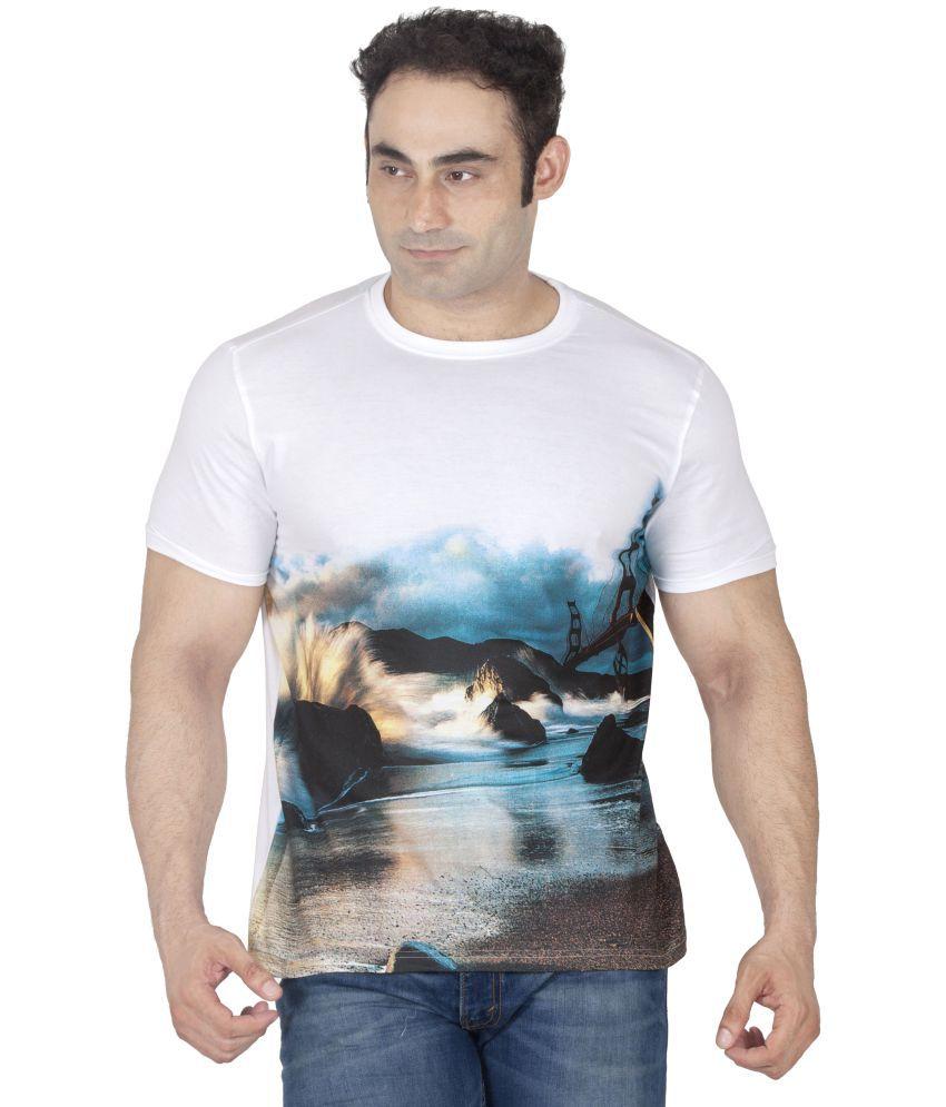 ishwa White Half Sleeve T-Shirt