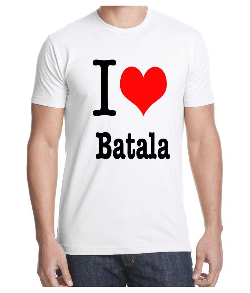 Ritzees Unisex Half Sleeve White Cotton T-Shirt Cotton T-Shirt I Love Batala for Men, Women, Kids(White, 34)