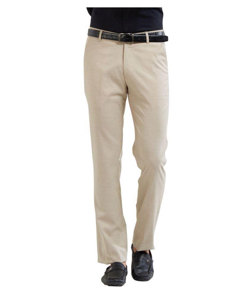 Solemio Khaki Regular -Fit Flat Trousers