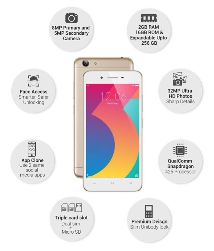 Vivo Y53 1606 ( 16GB , 2 GB ) Gold