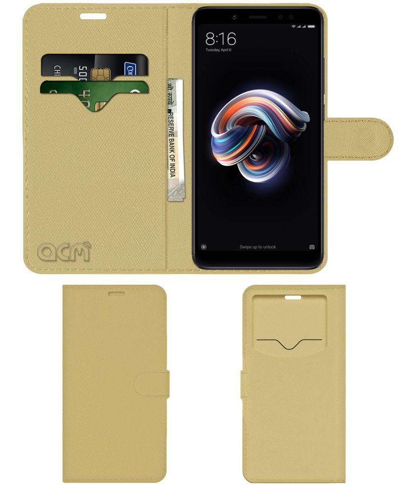 Xiaomi Redmi Note 5 Pro Flip Cover by ACM - Golden Wallet Case,Can store 2 Card & 1 Cash Pockets