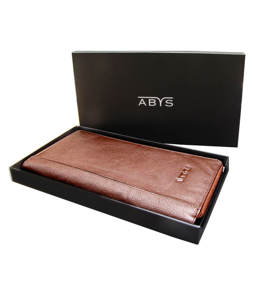 2fa960200753f Buy ABYS Brown Pure Leather Box Clutch at Best Prices in India - Snapdeal
