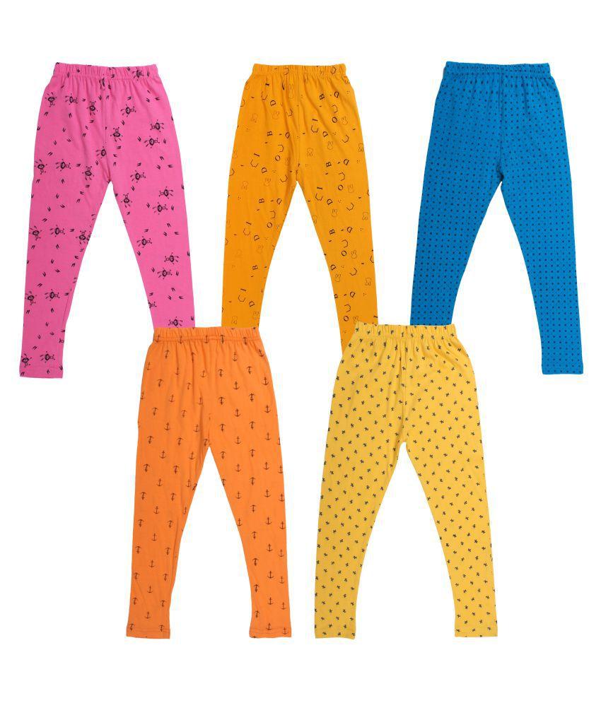 Diaz Girls Cotton Printed Legging - Pack Of 5