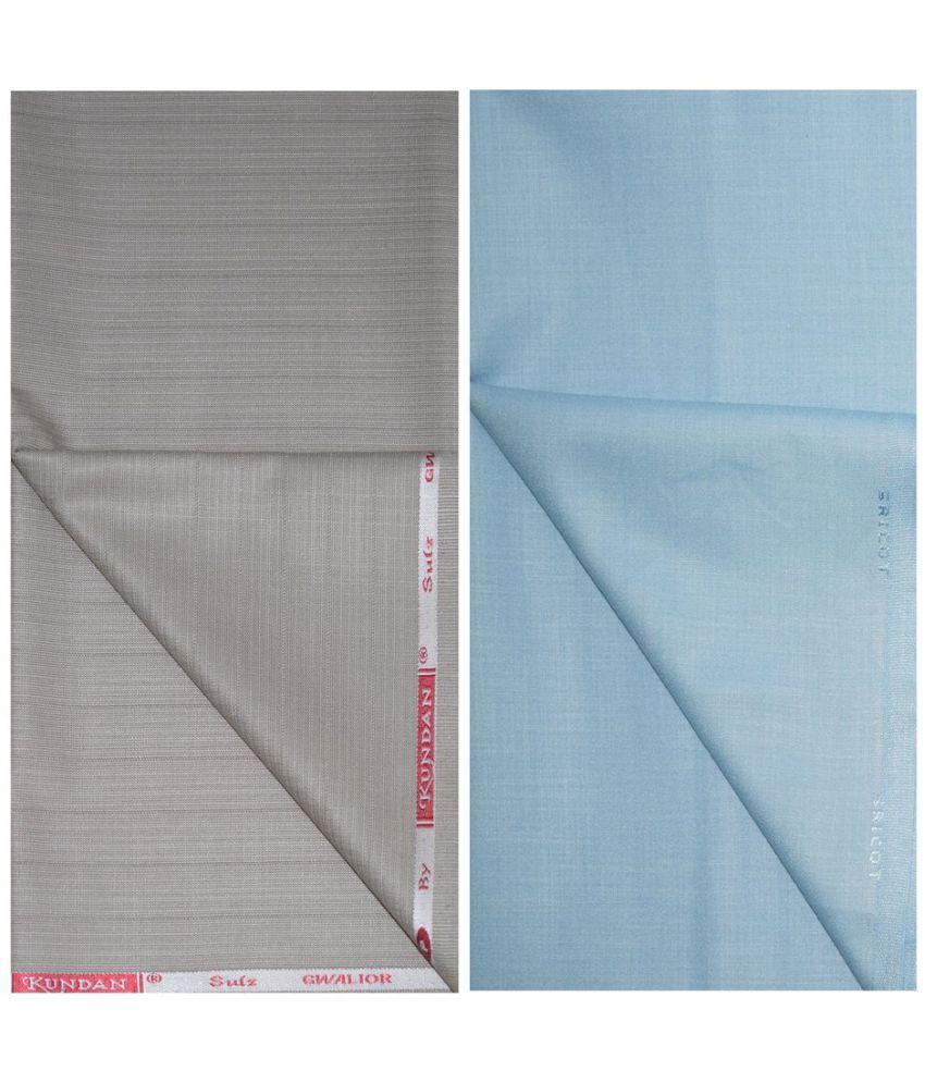 KUNDAN SULZ GWALIOR Blue Cotton Blend Unstitched Shirts & Trousers ( 1 Pant & 1 Shirt Piece )