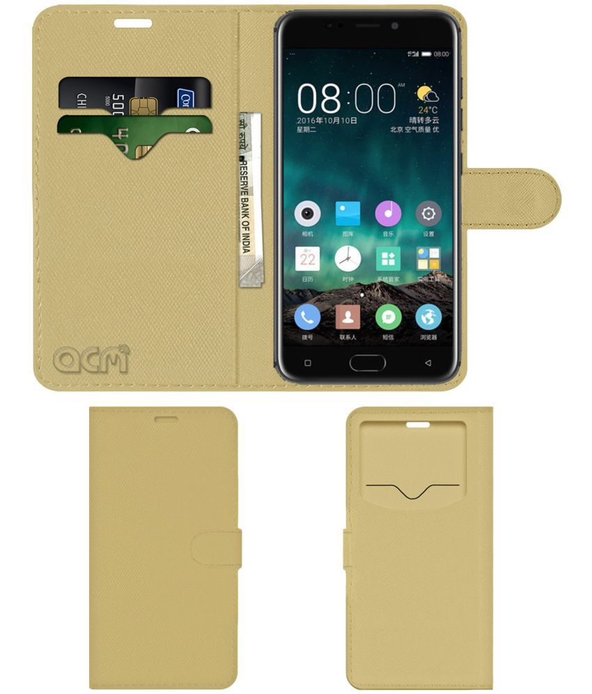 Gionee S10 Flip Cover by ACM - Golden Wallet Case,Can store 2 Card & 1 Cash Pockets