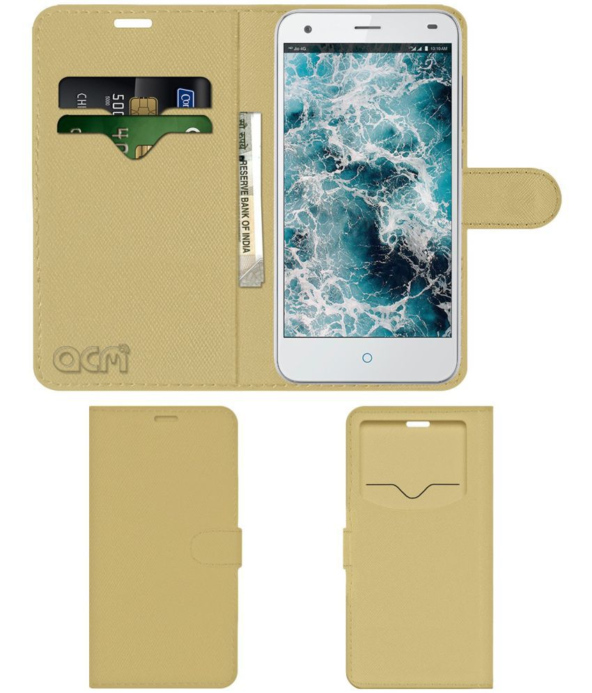 LYF water 3 Flip Cover by ACM - Golden Wallet Case,Can store 2 Card & 1 Cash Pockets