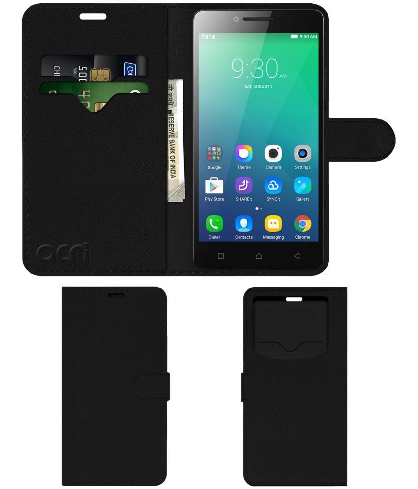 Lenovo A6000 Shot Flip Cover by ACM - Black Wallet Case,Can store 2 Card & 1 Cash Pockets