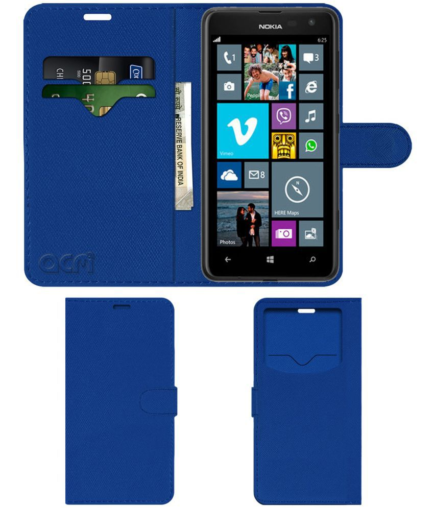 sports shoes 920df 317ce Nokia Lumia 625 Flip Cover by ACM - Blue Wallet Case,Can store 2 Card & 1  Cash Pockets