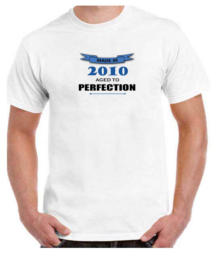 Ritzees Unisex Half Sleeve White Cotton T-Shirt Cotton T-Shirt Birthday for Men, Women, Kids(White, 46)