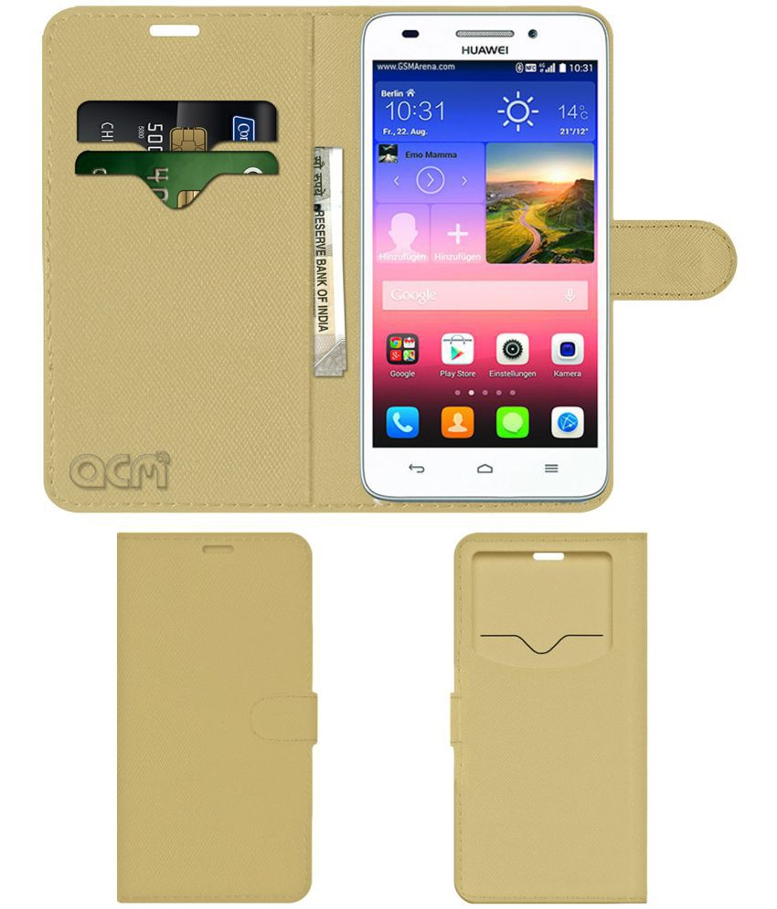 Huawei G620S Flip Cover by ACM - Golden Wallet Case,Can store 2 Card & 1 Cash Pockets