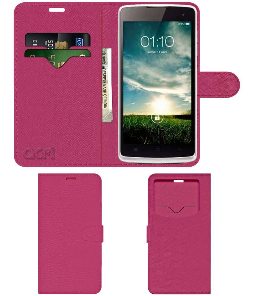 Oppo Yoyo R2001 Flip Cover by ACM - Pink Wallet Case,Can store 2 Card & 1 Cash Pockets