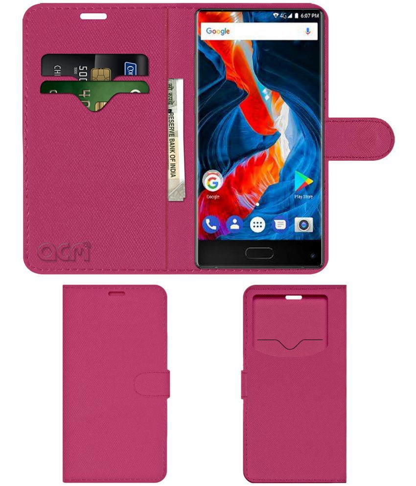 Ulefone MIX Flip Cover by ACM - Pink Wallet Case,Can store 2 Card & 1 Cash Pockets