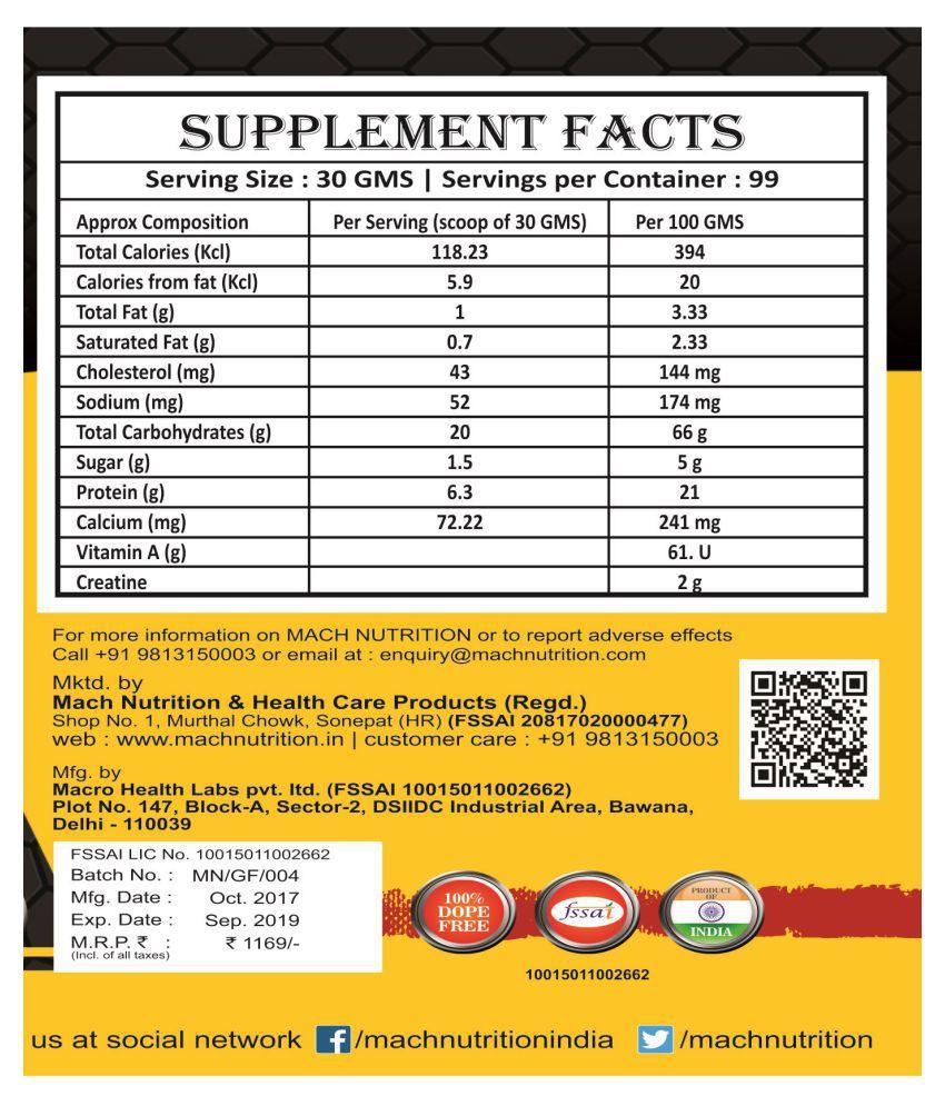 Mach Nutrition Gain Fast 1 Kg Weight Gainer Powder