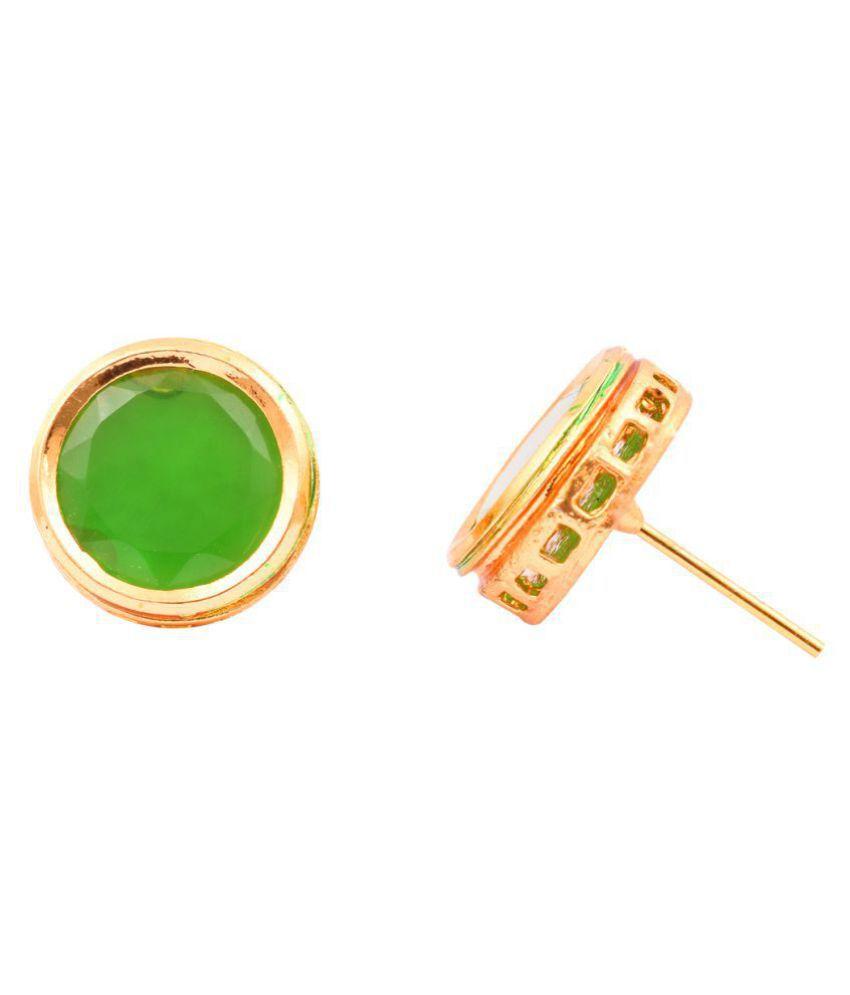 Pearlzgallery's Kundan Meena Green Round Shape