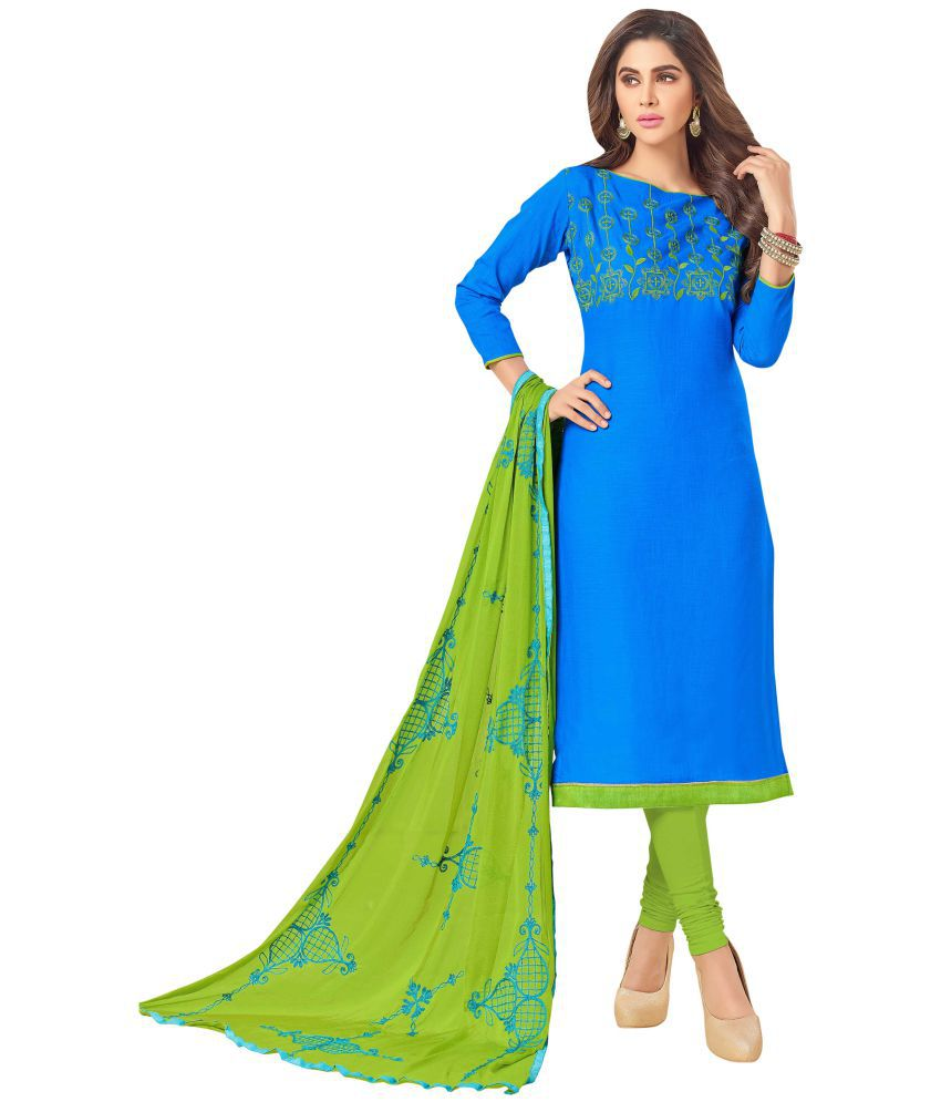Maroosh Green and Blue Cotton Silk Straight Semi-Stitched Suit