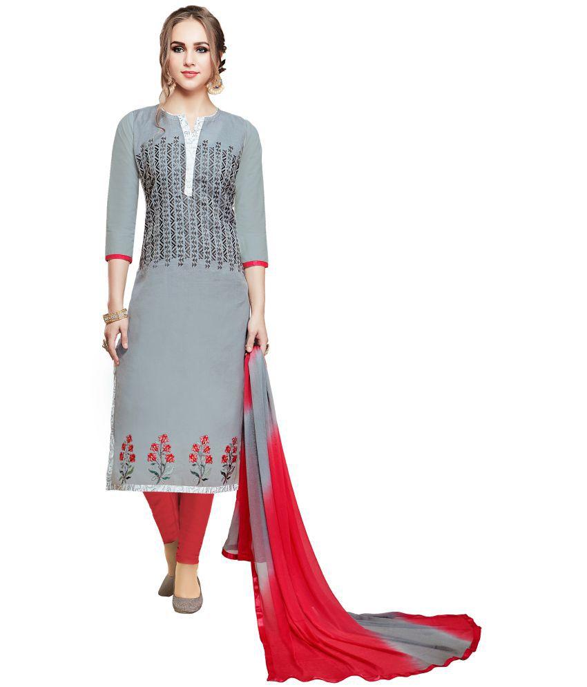 Maroosh Grey Cotton Blend Straight Semi-Stitched Suit