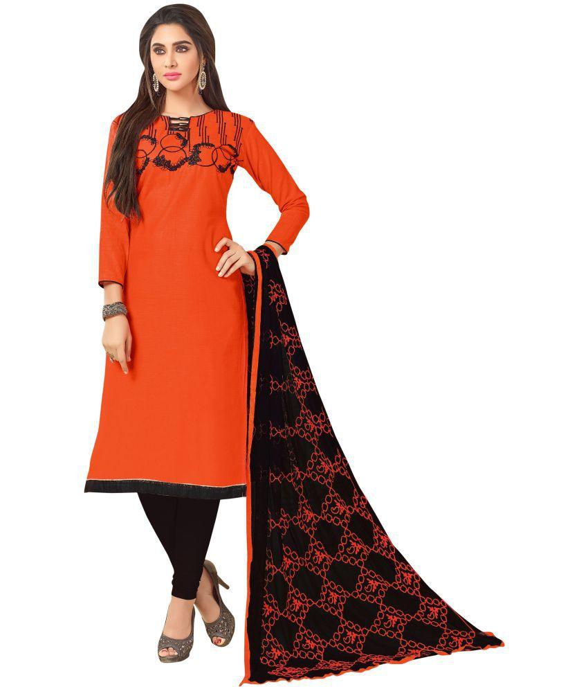 Maroosh Orange and Black Cotton Silk Straight Semi-Stitched Suit