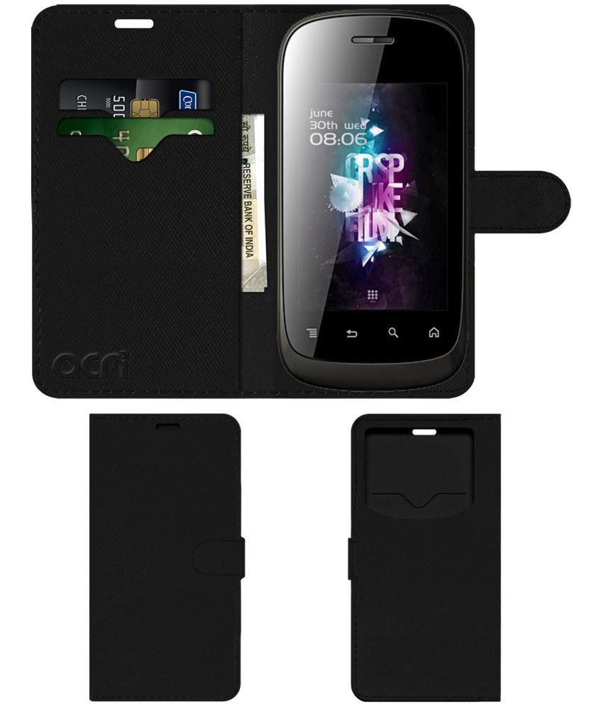 Micromax A52 Flip Cover by ACM - Black Wallet Case,Can store 2 Card & 1 Cash Pockets