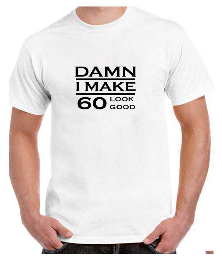Ritzees Unisex Half Sleeve White Cotton T-Shirt Cotton T-Shirt 60Th Birthday for Men, Women, Kids(White, 42)