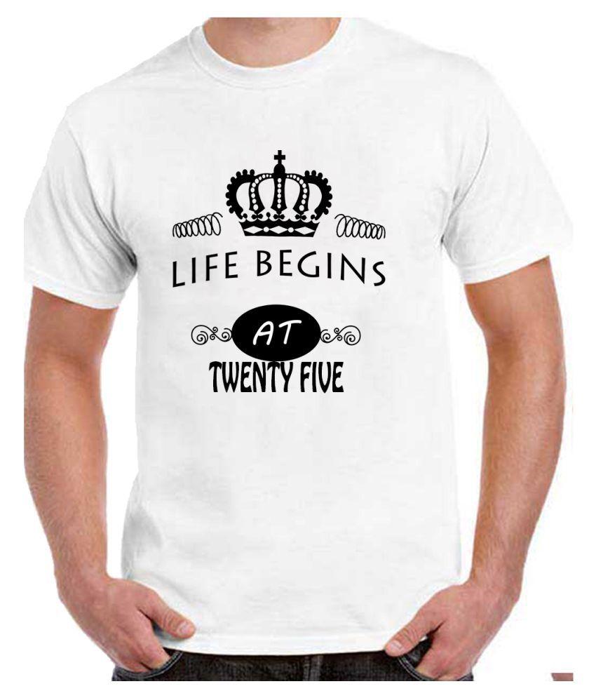 Ritzees Unisex Half Sleeve White Cotton T-Shirt Cotton T-Shirt 25Th Birthday for Men, Women, Kids(White, 40)