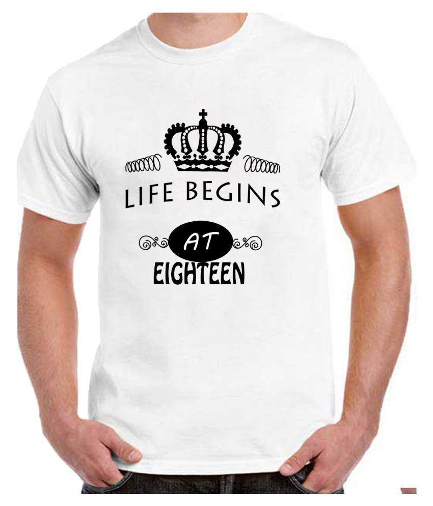 Ritzees Unisex Half Sleeve White Cotton T-Shirt Cotton T-Shirt 18Th Birthday for Men, Women, Kids(White, 46)