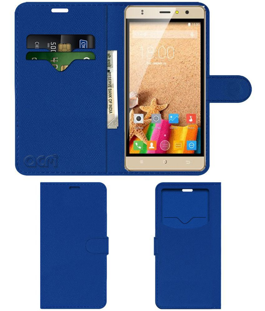 ZOPO COLOR F2 Flip Cover by ACM - Blue Wallet Case,Can store 2 Card & 1 Cash Pockets