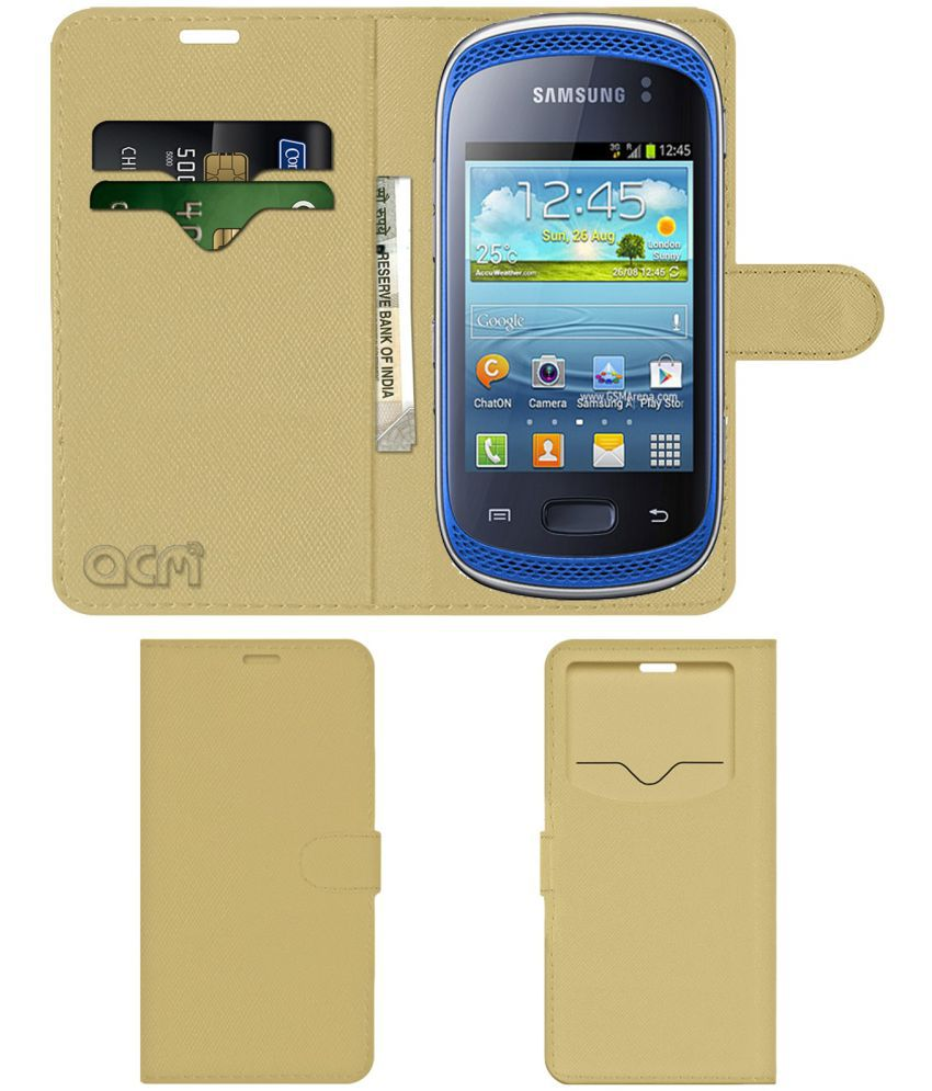 Samsung Galaxy Music Duos Flip Cover by ACM - Golden Wallet Case,Can store 2 Card & 1 Cash Pockets