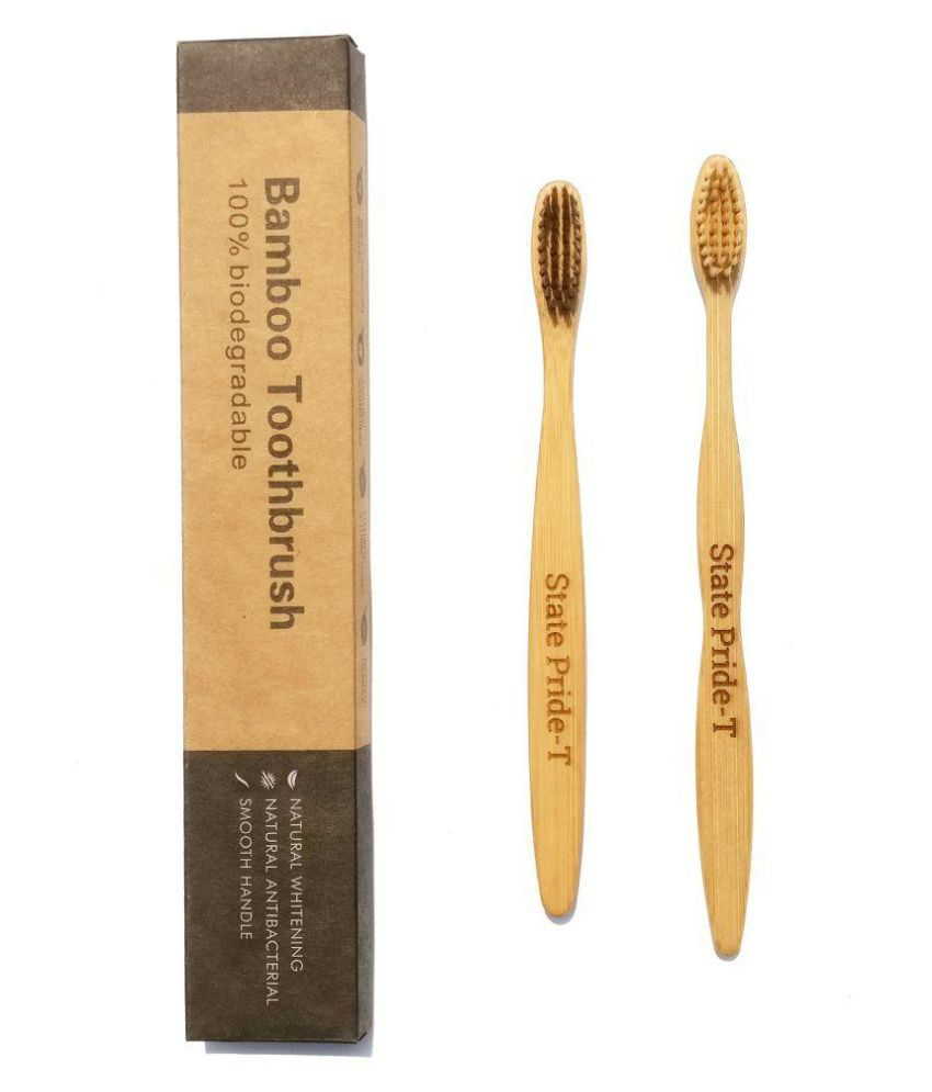 State Pride -T Biodegradable Eco-Friendly Toothbrush Adult bamboo  toothbrush Pack of 2
