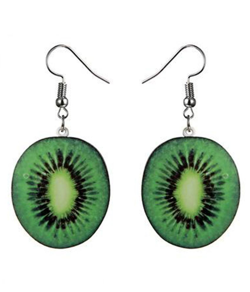 The Swag World Green Color Geometric pattern fashion statement earrings For Women