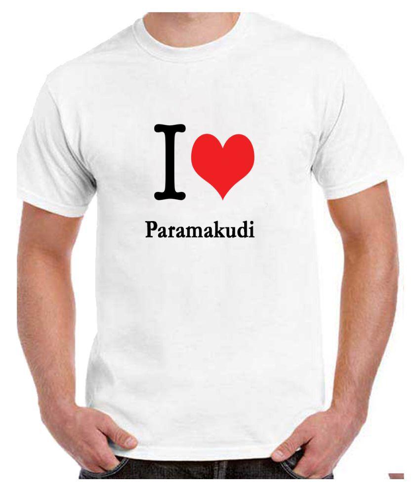 Ritzees Unisex Half Sleeve White Cotton T-Shirt Cotton T-Shirt Paramakudi City for Men, Women, Kids(White, 36)