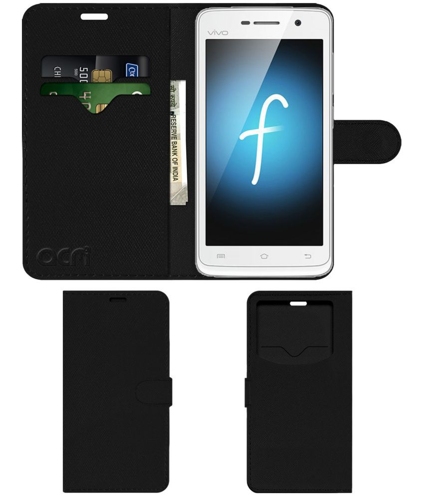 Vivo Y21 Flip Cover by ACM - Black Wallet Case,Can store 2 Card & 1 Cash Pockets
