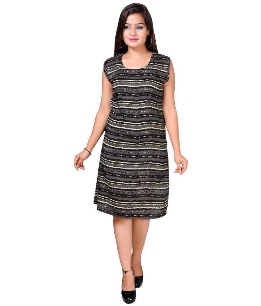 AHMA International Rayon Black A- line Dress