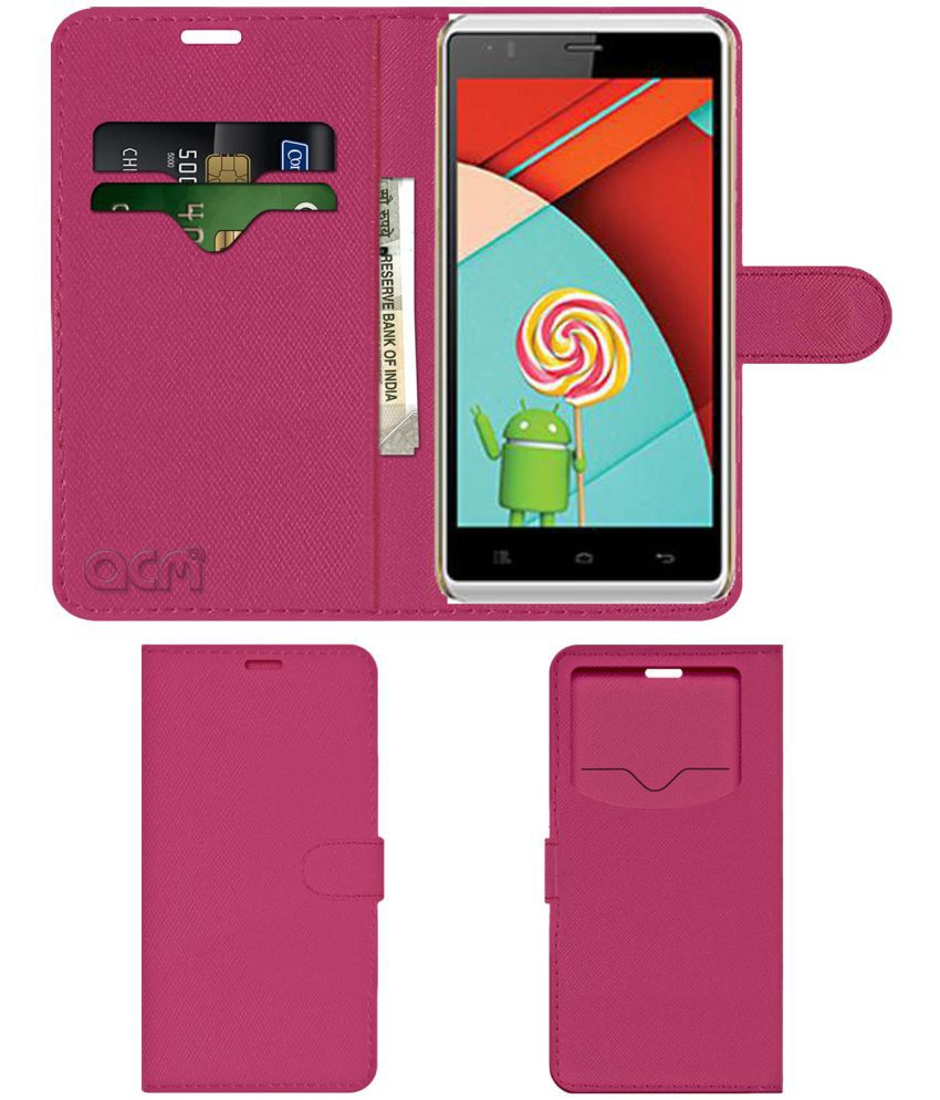 Celkon Q58 Millennia Xplore Flip Cover by ACM - Pink Wallet Case,Can store 2 Card & 1 Cash Pockets