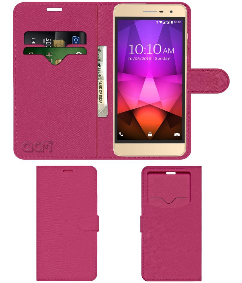 Lava X46 Flip Cover by ACM - Pink Wallet Case,Can store 2 Card & 1 Cash Pockets