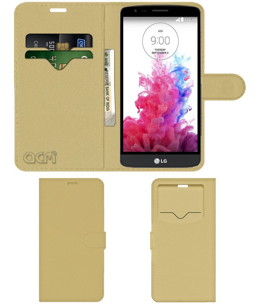 premium selection 9dafe fa474 Lg G3 Stylus Flip Cover by ACM - Golden Wallet Case,Can store 2 Card & 1  Cash Pockets